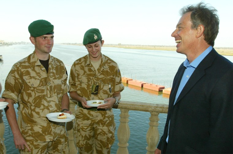 BRITAIN'S PRIME MINISTER BLAIR SPEAKS TO MILITARY PERSONNEL IN A PALACE OVERLOOKING THE SHATT-AL-ARAB WATERWAY IN BASRA CITY