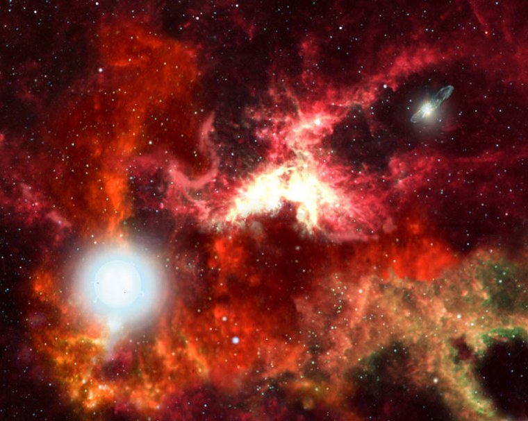 An artist's conception shows the birth of the universe's first generation of stars — superhot giants that lived briefly, then blew up, seeding the cosmos with the elements needed for life's development.