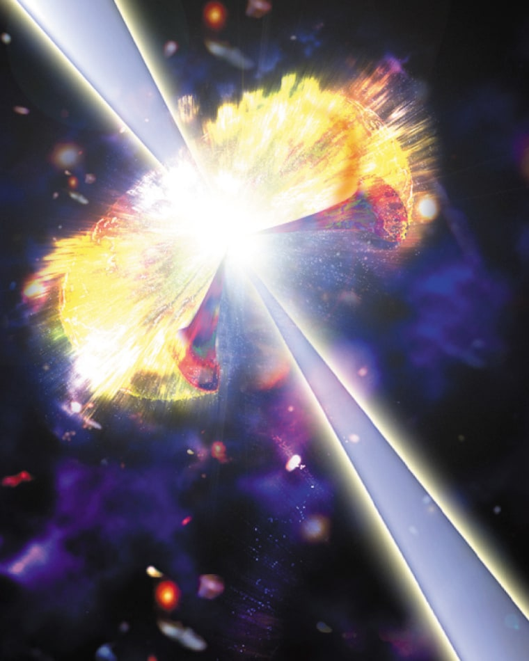 An artist's conception shows an intense blast of gamma rays shooting out from an exploding star, a phenomenon known as a hypernova.