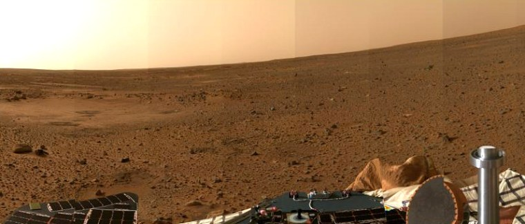 The second high-resolution color view sent back from Mars by NASA's Spirit rover shows the depression known as Sleepy Hollow on the left. The terrain appears to slope up to the right because the rover is on a slight tilt.