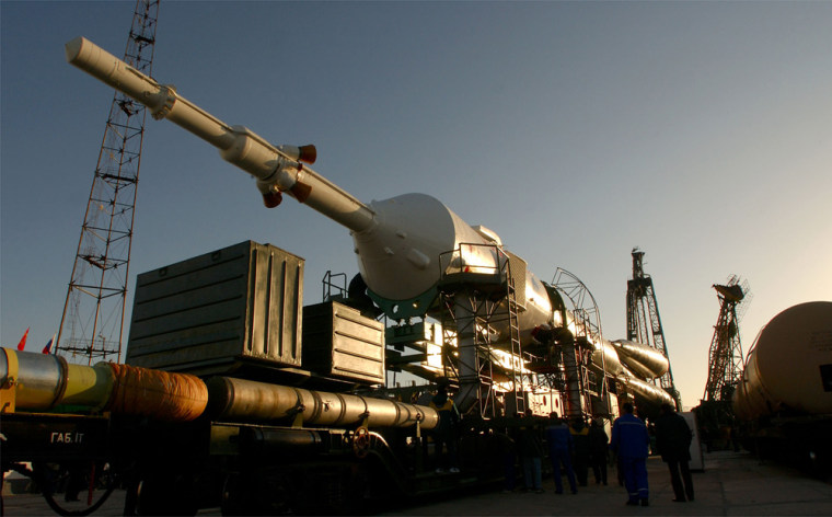 Russia'sSoyuz TMA-3 spacecraft and its booster rocket sit on a rail carin Octoberat the Baikonur cosmodrome in Kazakhstan, which inherited the space launchpad after the 1991 collapse of the Soviet Union.