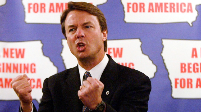 DEMOCRATIC PRESIDENTIAL CANDIDATE JOHN EDWARDS PUMPS FISTS