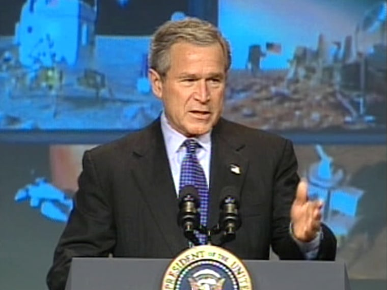 During Wednesday's speech at NASA Headquarters, President Bush lays out his plan to send Americans back to the moon and eventually to other worlds.