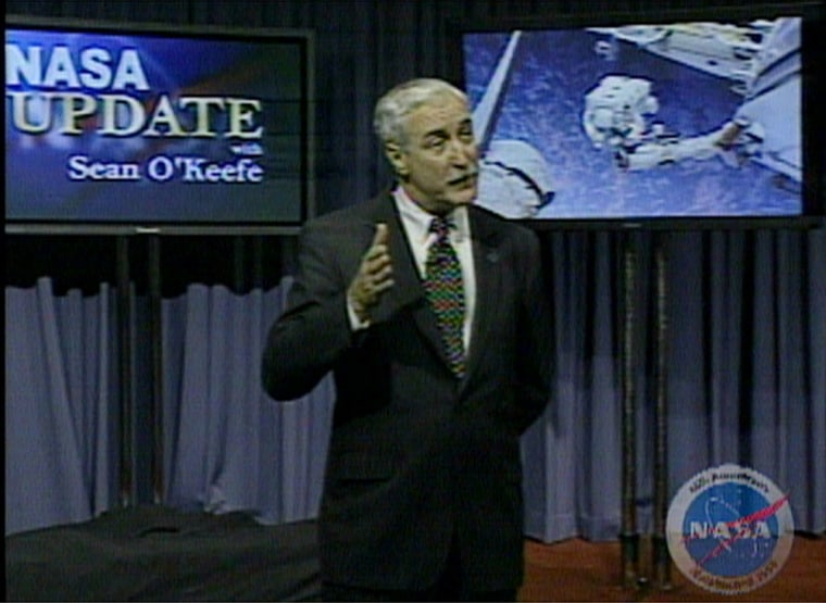 NASA Administrator Sean O'Keefe explains the space agency's new initiative in a televised talkto NASA employees.