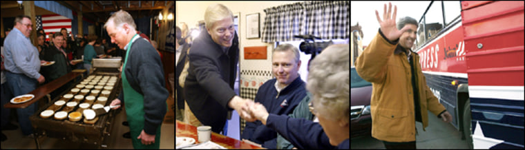 The three front-runners are all campaigning in Iowa on Thursday: Howard Dean flips pancakes in Fort Dodge, Dick Gephardt meets and greets in Mason City and John Kerry gets back on the bus in Council Bluffs. John Edwards is in fourth place, but the gap between him and first place is within the poll's margin of error.