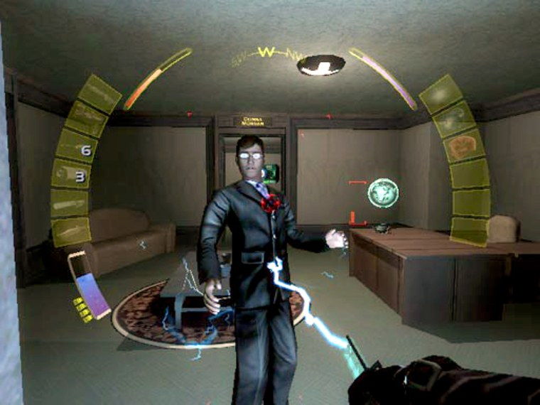 """A lawyer with some shady contacts tastes the stun gun in """"Deus Ex: Invisible War."""""""