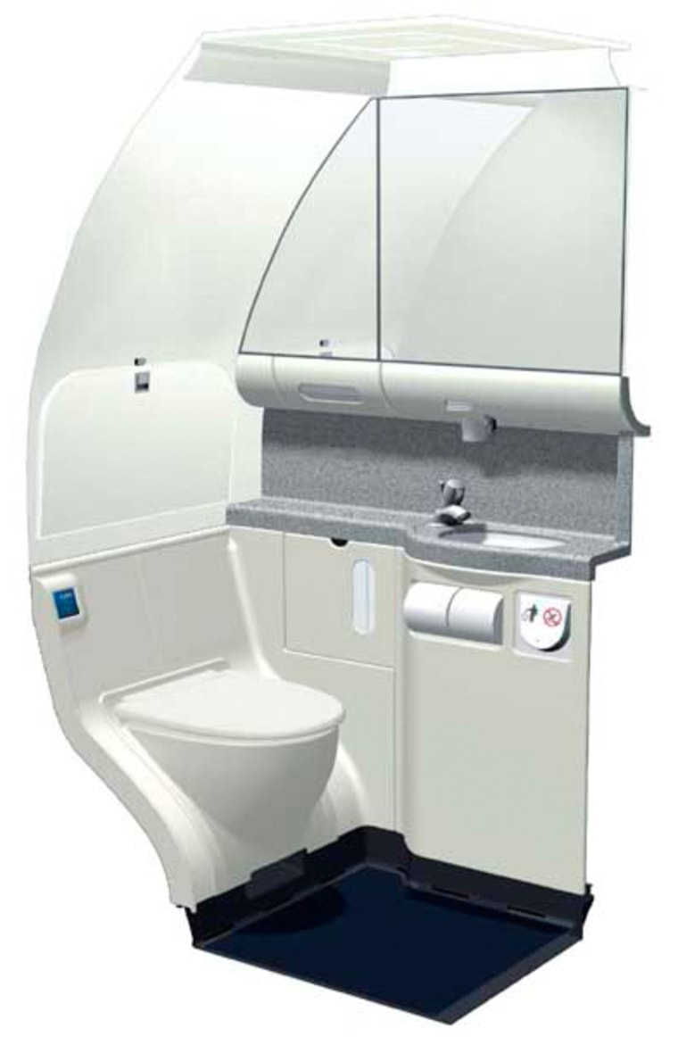 The Jetsons might have had it better, but Boeing's new 737 toilets are a huge leap from that grubby early-80s look. The waste bin won't snap back on your hand anymore, so make sure you tidy up.