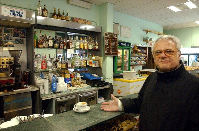 Carlo Rienzi, lawyer and president of the Italian public-advocacy group Codacons, buys a cappuccino for 77 euros at the Quelli Della Notte bar in Ladispoli, near Rome, onSaturday.