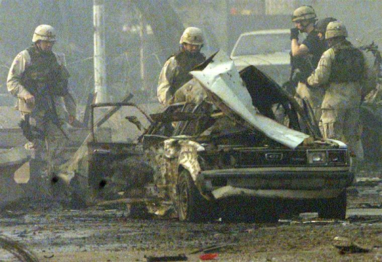 U.S. ARMY TROOPS SECURE SCENE OF BLAST OUTSIDE BAGHDAD HEADQUARTERS