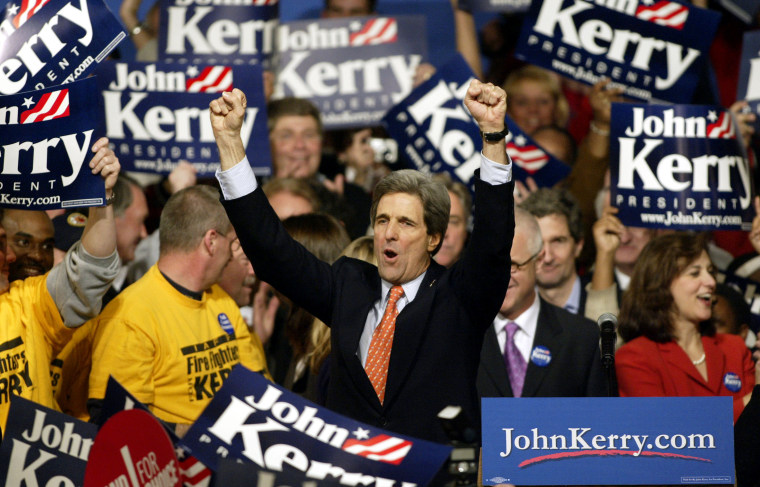 'We're coming, you're going, and don't let the door hit you on the way out,' Sen. John Kerry warned President Bush after his sweeping victory Monday night.