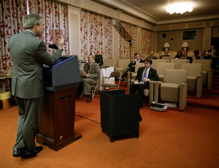 PresidentBush prepares for the State of the Union speech in the Family Theater of the White House Monday.