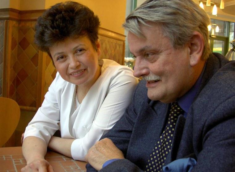 Smilja Petojevic, Yugoslav strongman Josip Broz Tito's personal chef, and Borislav Milosevic, the brother of deposed Serb leader Slobodan Milosevic, are reunited at Petojevic's Moscow cafe.