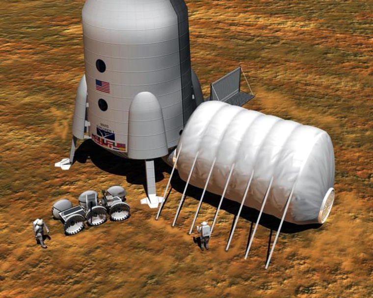 An artist's conception shows a Mars crew erecting an inflatable habitat on the surface. Dwellings on the moon or Mars could be shielded from radiation byspecialcoverings, or even by soilor water reservoirs.