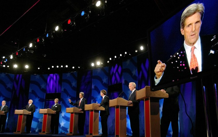 Kerry, who needed to enhance the illusion that he already is the nominee, gets some help from a giant television monitor during Thursday's debate.