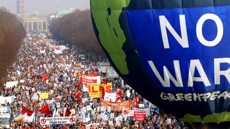 Demonstrators Attend Massive Anti-War Protest In Berlin