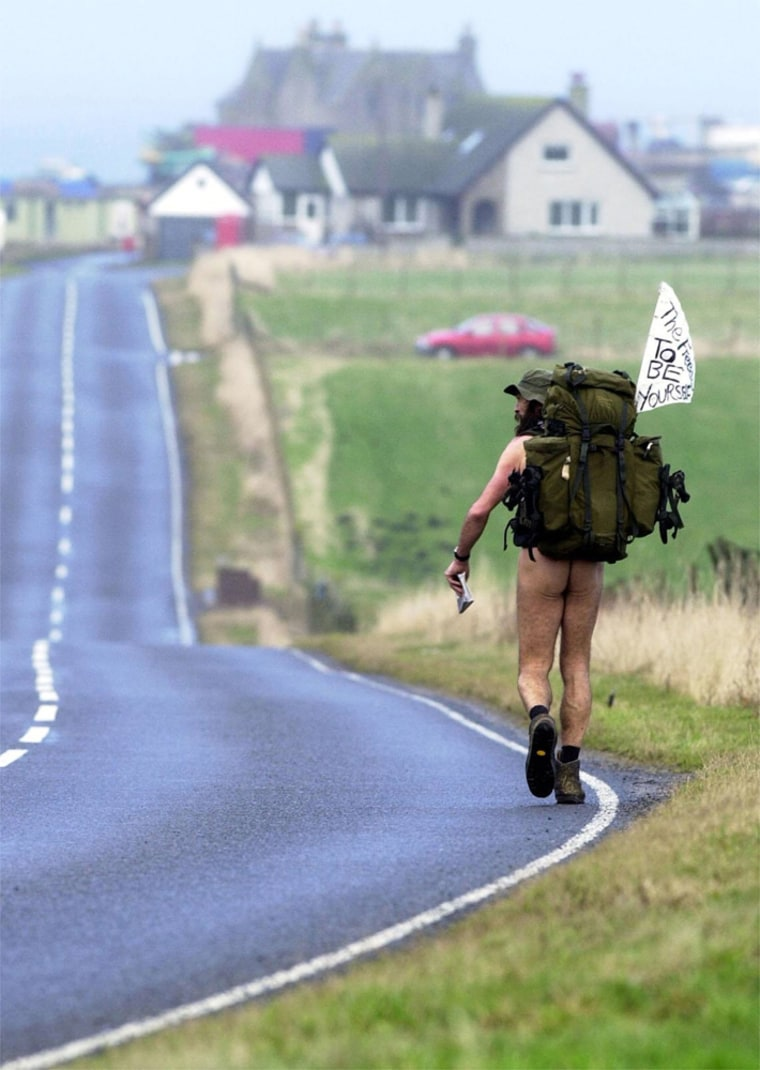Stephen Gough makes his way to John O' Groats, Scotland, Thursday after completing his nearly 900-mile walk.
