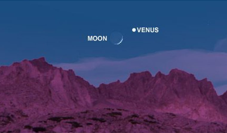 From Earth's viewpoint, Venus has shifted to the east since its last date with the moon on Christmas. This is the what the view to the southwest in midnorthern latitudes should be like at 5:30 p.m. Saturday