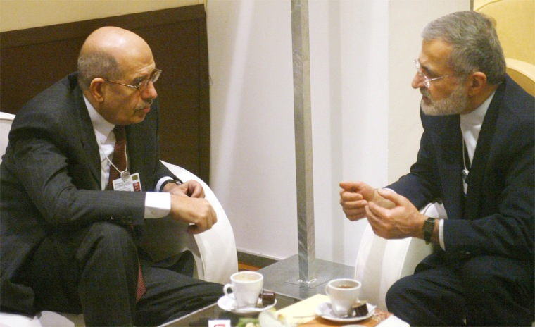 IRAN'S FOREIGN MINISTER KHARAZZI MEETS IAEA-DIRECTOR GENERAL ELBARADEI AT THE WORLD ECONOMIC FORUM IN DAVOS