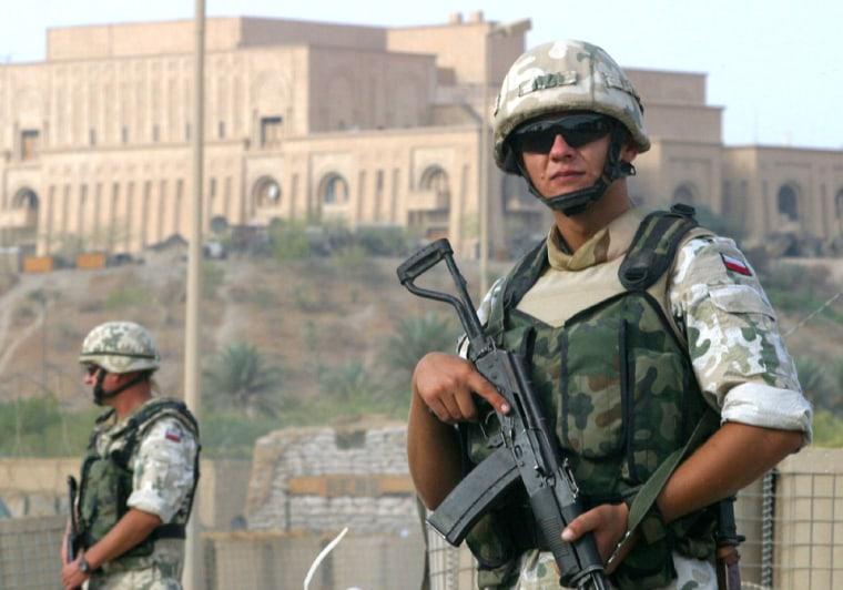POLISH SOLDIERS GUARD MULTI NATIONAL BASE AT ANCIENT IRAQI SITE OF BABYLON