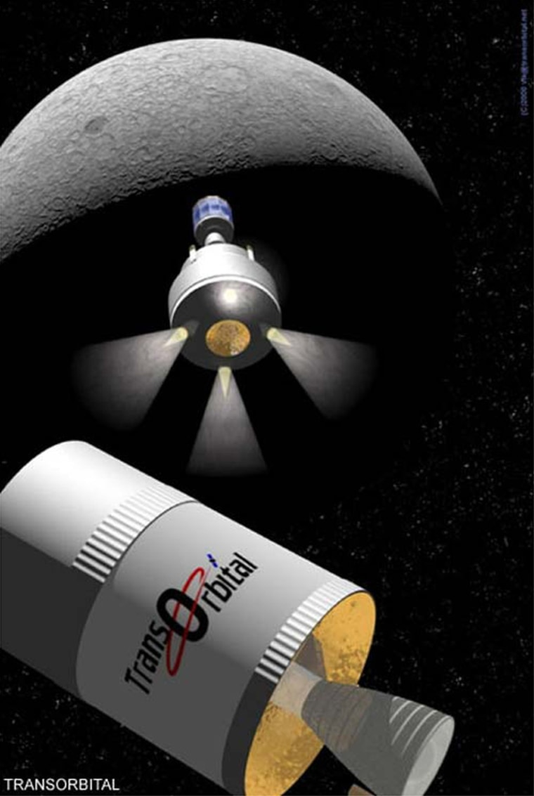 An artist's conception shows the Trailblazer orbiter on its way to the moon. The craft would send back video from orbit, thencrash into the lunar surface to delivera payload of mementos and messages.