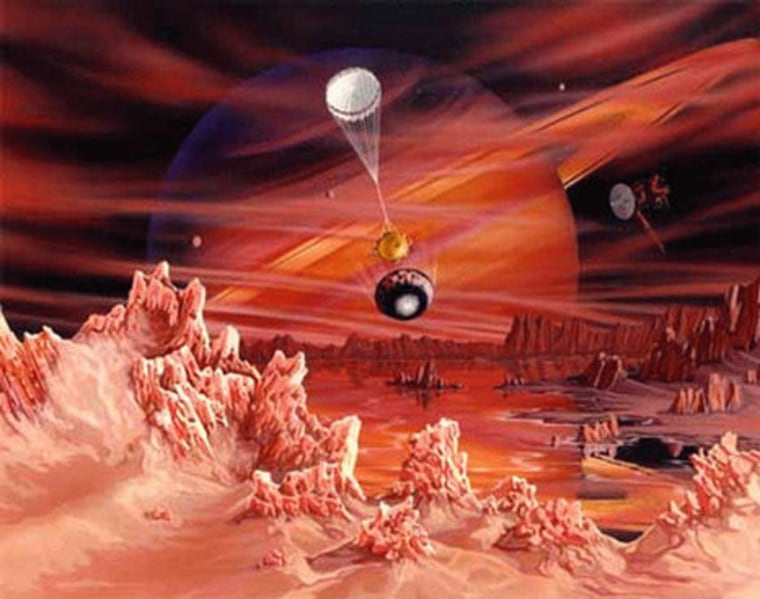 An artist's conception shows the Huygens probe descending through the smoggy atmosphere of Titan, Saturn's largest moon. Titan may well hold hydrocarbon-rich lakes and seas.