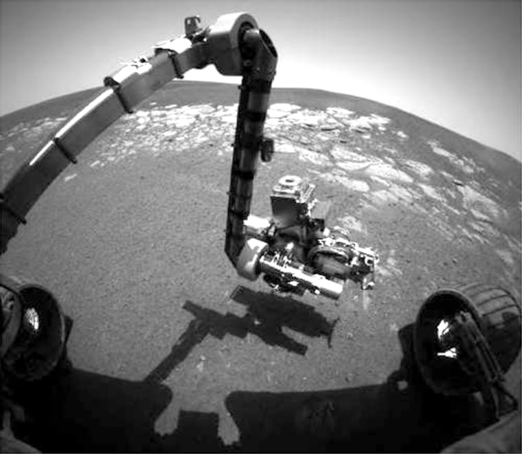 This picture from 2004 shows Opportunity's robotic arm extended.