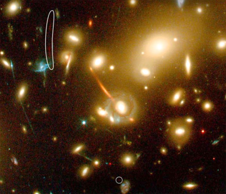 A faint galaxy, outlined by a white ring in the shape of a sausage, is said to be the farthest known object in the universe. The image is elongated due to the gravitational-lensing effect of a closer galaxy cluster.