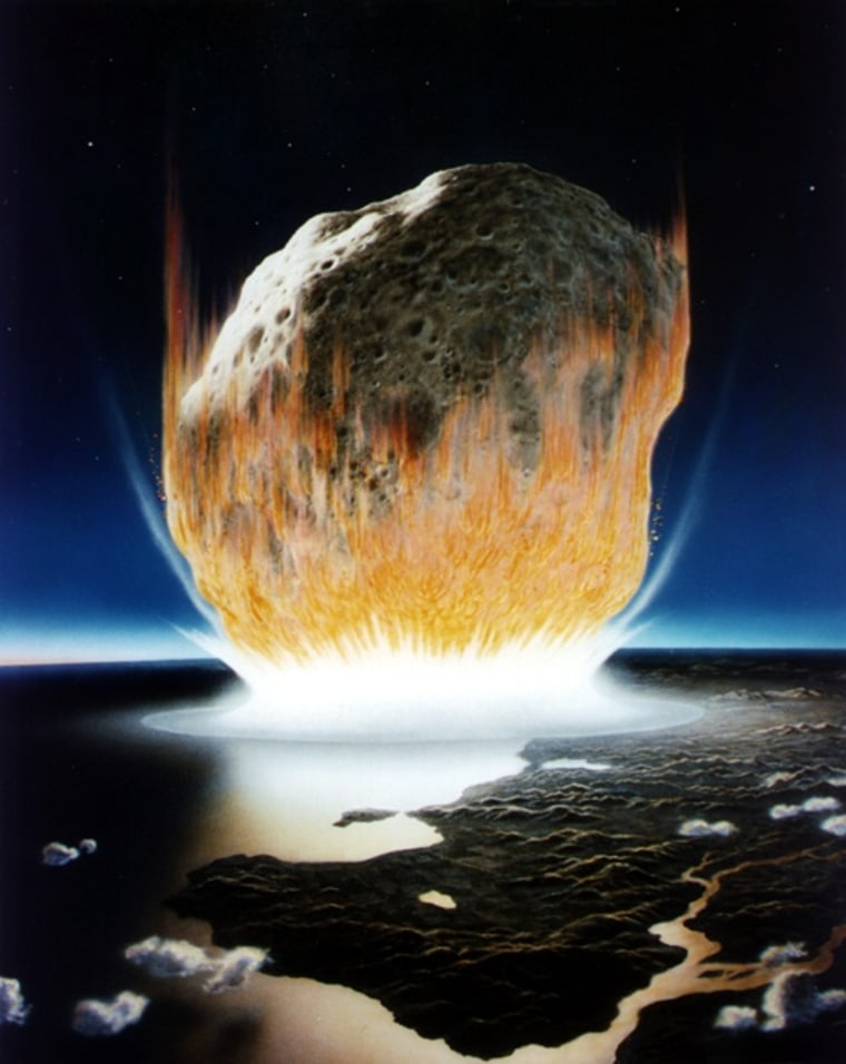 An artist's conception shows a huge asteroid striking Earth. Scientists say even a smaller asteroid — measuring, say, 100 yards across — could create havoc if it hit an urban area.