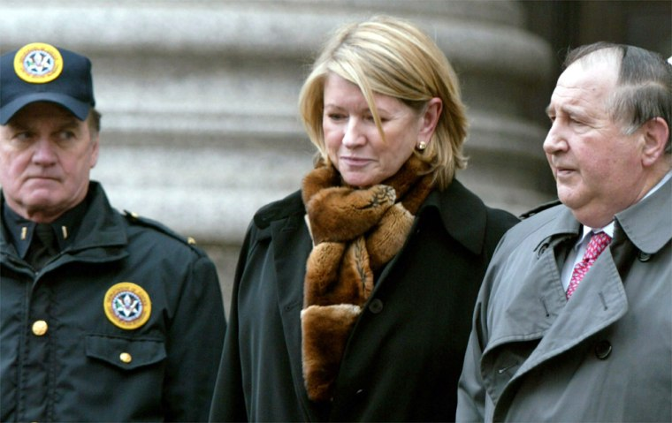 MARTHA STEWART LEAVES COURT WITH LAWYER AFTER BEING FOUND GUILTY IN NEW YORK