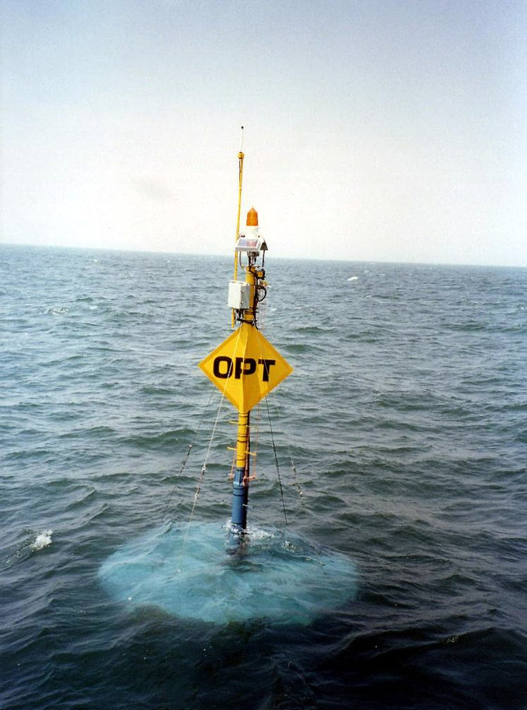 """Ocean Power Technologies developed this """"PowerBuoy,"""" which generates electricity as it is rocked by swells and waves."""