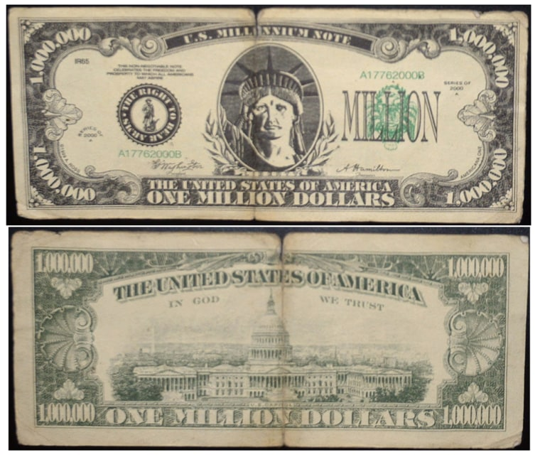 The front and back of a fake $1 million dollar bill is shown in this undated Covington Police Department handout photo.