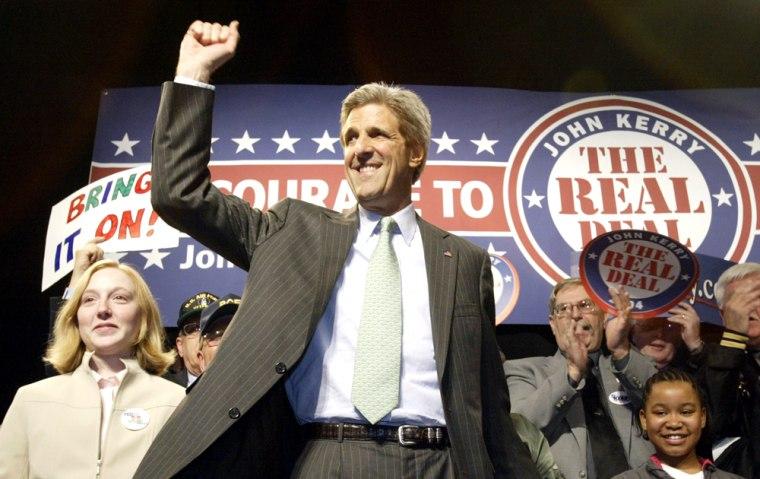 Democratic presidential candidate andSenator John F. Kerry of Massachusetts speaksSaturday at a junior high school in Quincy, Ill.