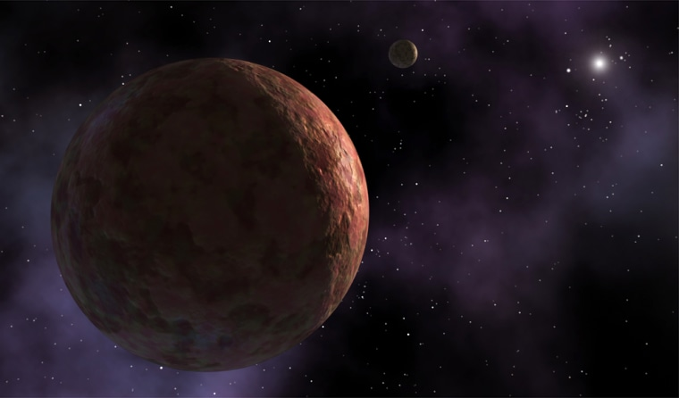 An artist's conception shows the newly discovered planetoid Sedna and a moon, with the sun as a distant speck. Observations indicate that Sedna is one of the reddest objects detected in the solar system. Only Mars is redder.