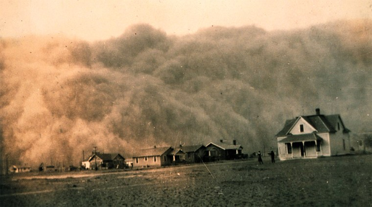 "A dust storm approaches Stratford, Texas, on April 18, 1935. The drought of the 1930s turned the fertile Southern Plains into what came to be known as the ""Dust Bowl."""