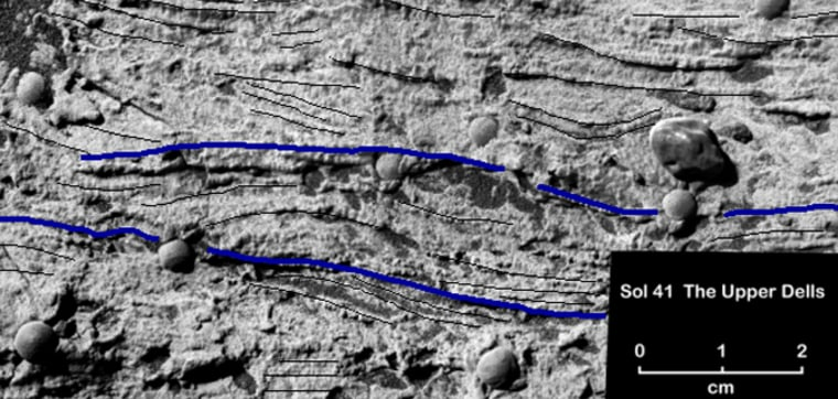 """NASA's Opportunity rover sent back this magnifiedview of a portion of a Martian rock called """"Upper Dells,"""" showing fine layersthat are truncated, discordant and at angles to each other. Black and blue lines have been added to the picture, tracingcross-lamination that indicates the sedimentsforming the rock were laid down in flowing water."""
