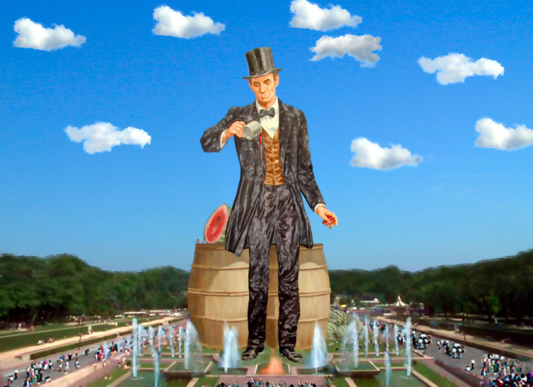An artist's rendering shows the proposed 305-foot monument of Abraham Lincoln that boosters in Lincoln, Ill., hope to build.