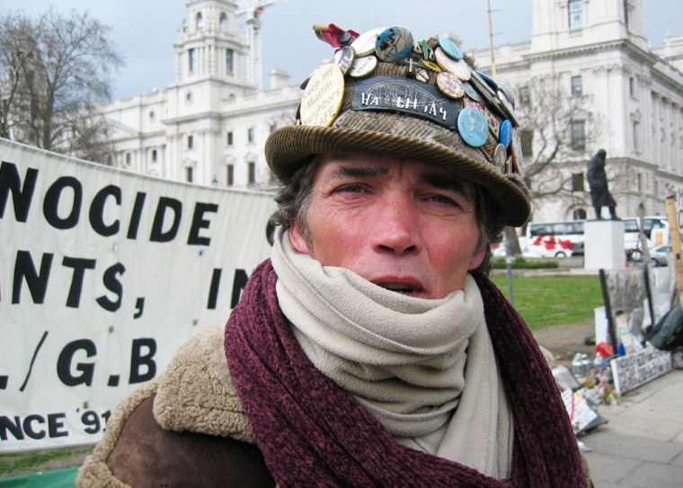 From the pavement outside London's Houses of Parliament, Brian Haw has been protesting against Western policy in the Middle East since June 2001.