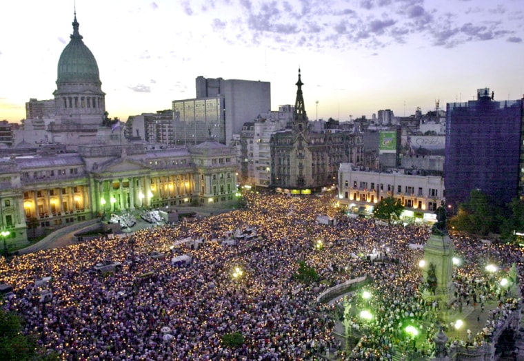 THOUSANDS OF ARGENTINES GATHER TO DEMAND HALT TO CRIME