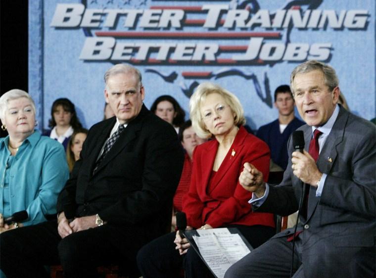 U.S. PRESIDENT GEORGE W BUSH MAKES REMARKS NEXT TO EDUCATORS IN EL DORADO