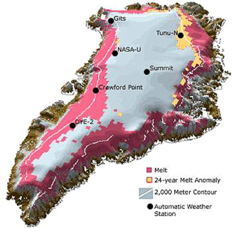 Recent indicators on global warming include snowmelt zones in southern Greenland, This NASA map shows the zonesin red, and areasof anomalous melting in orange.