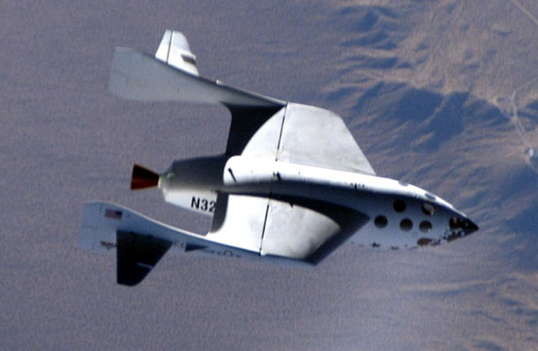 The SpaceShipOne rocket plane, shown in this photo from its first supersonic flight test, is due to make its first true spaceflight June 21.