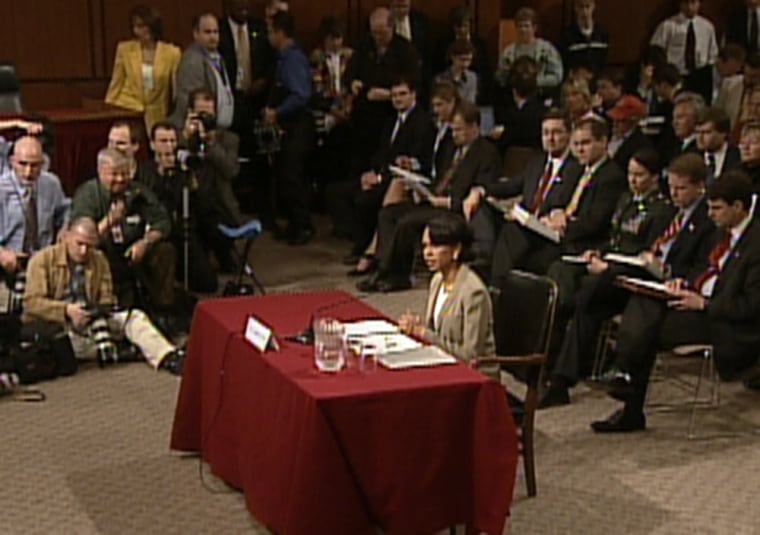 National security adviser Condoleezza Rice speaks before the 9/11 commission.
