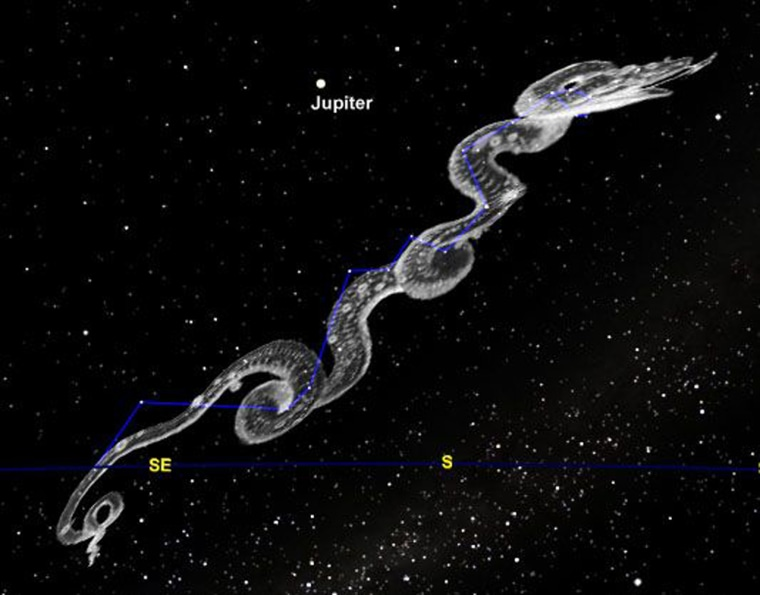 The constellation Hydra stretches through a good portion of the southern sky.