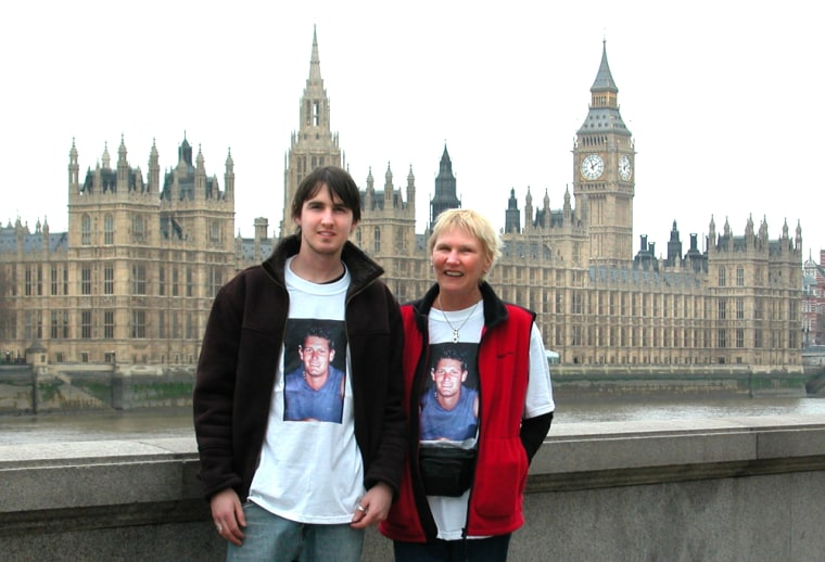 Tim and Anna Little alongside the Thames in London on Sunday.