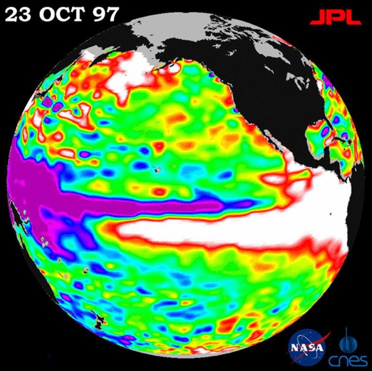 Warm water caused by a 1997 El Nino is shown in white in the map created based on a NASA satellite. The white area represents a mass of water 30 times greater than all the Great Lakes and was flowing towards the Americas at the time.