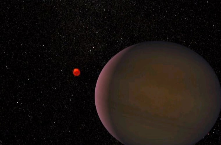 Artist's rendering of the planet, estimated at 1.5 times the size of Jupiter, orbiting a dim, red dwarf star. Though the planet is likely gaseous, astronomers otherwise don't know what it looks like.