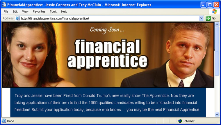 "Troy McClain and Jessie Connors, two ousted hopefuls from ""The Apprentice,"" hope their fame will help in their new venture, FinancialApprentice.com."