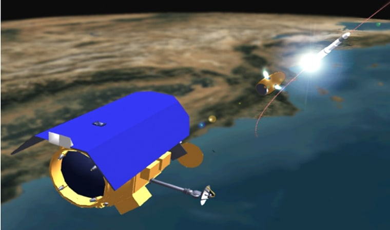 An artist's conception shows the Near Field Infrared Experiment monitoring the ascent of a ballistic missile from orbit.