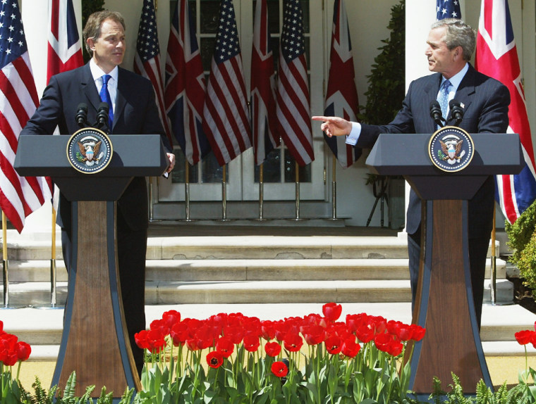 President Bush And British Prime Minister Blair Meet On Iraq