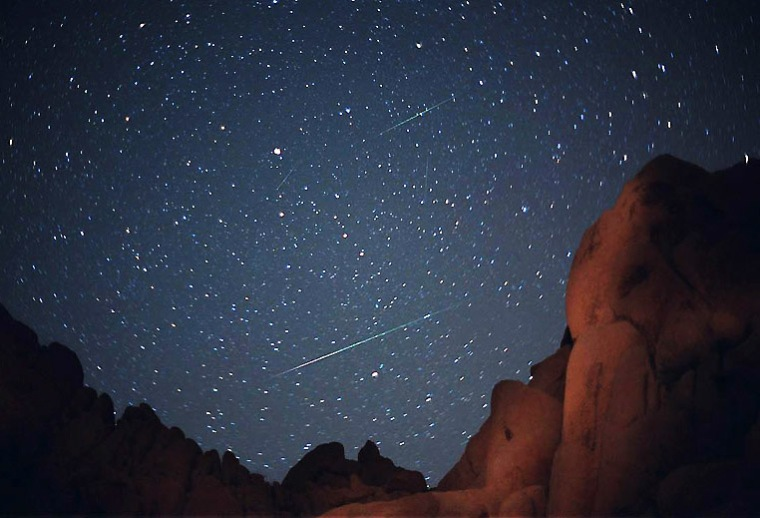 Lyrid meteor streaks show up in this four-minute time-exposure image of the northern sky, as seen from Indian Cove campground in California's Joshua Tree National Park on April 22, 2003. Click on the image for more pictures from astrophotographer Wally Pacholka.